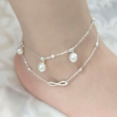 Women Ladies Ankle Bracelet 925 Sterling Silver Anklet Chain Boho Beach Beads