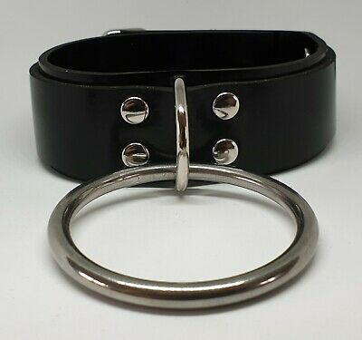 Heavy Rubber Locking Bondage Collar with Front Ring BRAND NEW FETISH FANCY DRESS