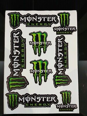 Monster Energy. Green Sticker Sheet. Stickers. 8 decals. Monster Kawasaki, MTB