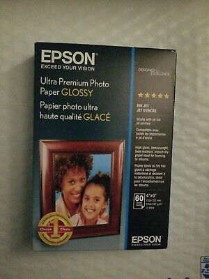 "Epson Ultra-Premium Glossy Photo Paper 4"" x 6"" 60 Sheets/Pack FREE SHIPPING"