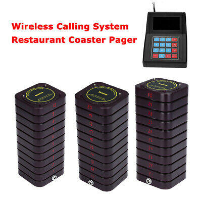 Restaurant Pager Queuing Paging Equipment System 1 Transmitter+30 Coaster Pagers
