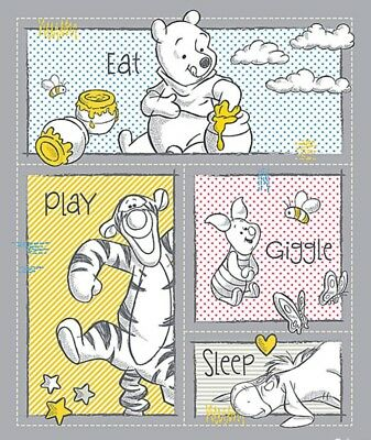 Disney Winnie The Pooh * Giggle & Play  Quilt Panel * New * Unisex * Free Post