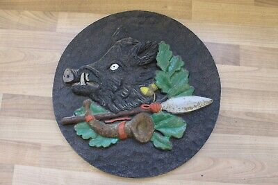 "(Arte : L-1515) Emebellecedor Relieve de Metal ""Wildschweinkopf "", Hierro"