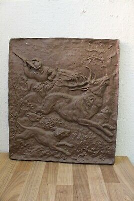 "(Arte : L-1513) Emebellecedor Relieve de Metal ""Motivo Caza "", Hierro"