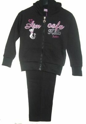 Girls Tracksuit Black ATM Jog Set Hooded TOP & Elasticated Waist Joggers Set.