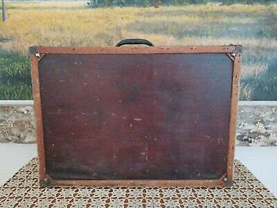 Antique Vintage Old Wood Wooden Tool Box Suitcase Old Red Paint Awesome Accents