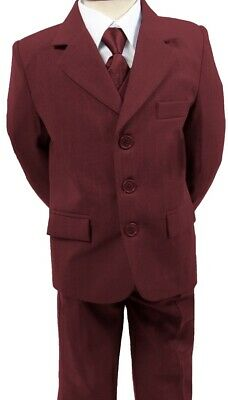 Brand New Boys Formal 5Piece Suit Boy Prom Wedding Suit In Burgundy Ages 1 To 15