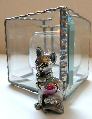 RARE Pewter CAT/ Beveled Leaded Glass TEALIGHT HOLDER w CANDLES (Retail >$68)