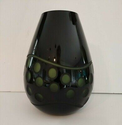 Art deco style cameo round cut black glass vase with green accents