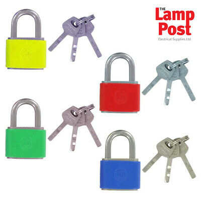 Electrical Electricians Safety Lockout Padlock With 3 Keys - Choice of Colours