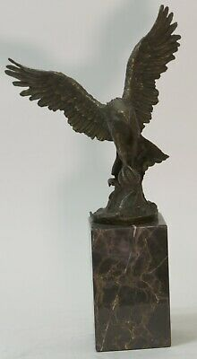Pure Bronze by Milo Eagle Sculpture  Brown Color PATINA Signed Figurine Deal Art