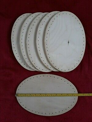 Six oval tray bases, 6mm plywood, drilled, for wicker/cane craft. 30cm x 20cm