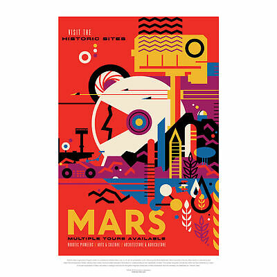 NASA Space Travel Advert Mars Large Wall Art Print 18X24 In