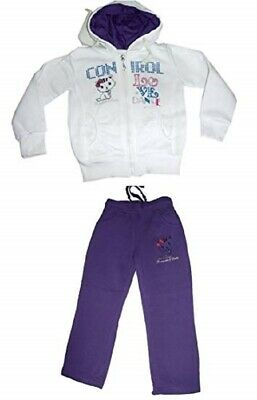 Girls Tracksuit Purple & White Love Dance Jog Set Hooded TOP & Joggers Set.4-12y