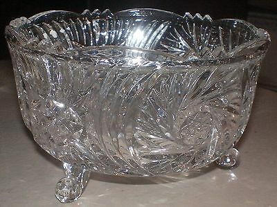 Clear Cut Glass Nut Candy Footed Dish Star Pinwheels Tulip Scalloped Rim Vintage