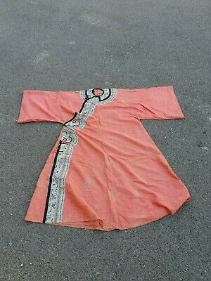 Antique 19 th Chinese silk embroidery robe textile dress