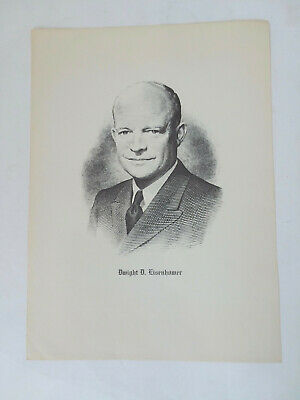 Dwight D. Eisenhower - Vintage President Lithograph 1960s Black and White