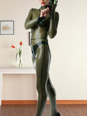 Cosplay Cool 2019 New Latex Rubber Sexy Transparent Grau Full Body Catsuit S-XXL