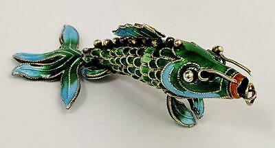 Chinese Silver & Cloisonne Enamel Articulated Fish Pendant 20Th Century