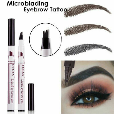 Patentierter Microblading Tattoo Eyebrow Pen mit 4 Tips Sketch Augenbrauenstift*