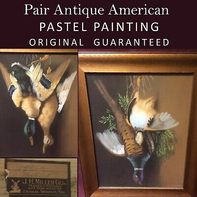 Pair T. Bailey 19th C Still Life Hanging Game Birds Painting, Springfield Mass.