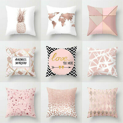 Pillowcase Cushion Car Throw Pillow Decoration Home Cover Case Print Letter Pink