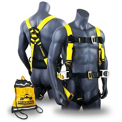 KwikSafety HURRICANE Safety Harness ANSI Fall Protection 3D Ring + Back Support