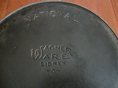 Antique Wagner Ware National 1358 A Cast Iron Skillet w/ Heat Ring