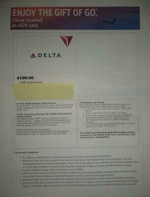 Delta Airlines Gift Card $100.00 No expiration Mail Delivery Only