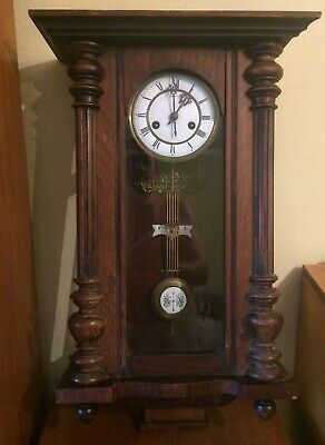 Original 19-Century Wooden Wall Clock  With Key / In Perfect Conditions