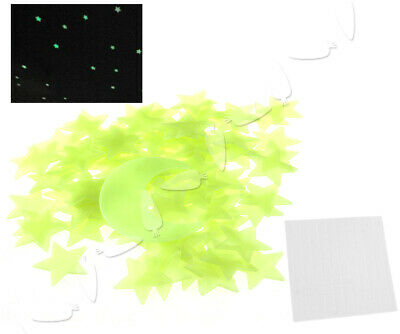 100 x GLOW IN THE DARK REAL MOON + STARS Bedroom Wall Stickers Ceiling