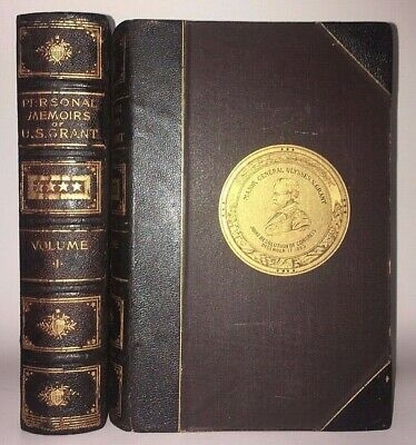 LEATHER! PERSONAL MEMOIRS of ULYSSES S. GRANT!(FIRST EDITION! 1885)Civil War Set
