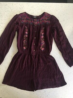 Girls NEXT Plum/wine Long Sleve Crepe PlaySuit Embroidered Age 12yrs