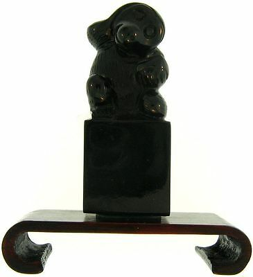 Natural Carved Black Nephrite Jade Monkey w/ Continuous Base