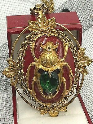 Miriam Haskell Signed Necklace Pendant Scarab Antiqued Gold Brass Fx Carnelian