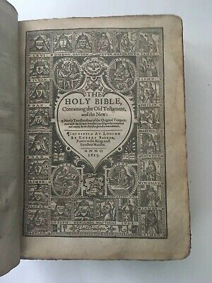 HOLY BIBLE!(FIRST QUARTO EDITION!)KING JAMES 1611(PRINTED IN 1613!)Leather RARE!