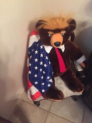 "Donald Trump Trumpy Bear Plush 22"" American Flag Blanket Cape teddy bear"