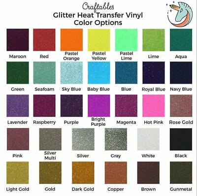 Craftables Glitter Heat Transfer Vinyl Roll HTV 8 ft for Cricut, Silhouette
