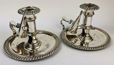 PAIR GEORGE III OLD SHEFFIELD PLATE CHAMBER CANDLESTICKS c1800