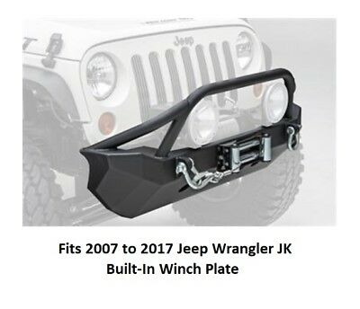Front Bumper with Bull Bar and Built-in Winch Plate for 07-17 Jeep JK Wrangler