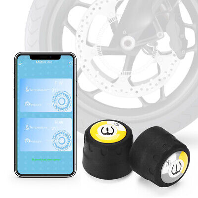 Motorcycle Wireless TPMS Tyre Pressure Monitor System 2 External Sensors For iOS