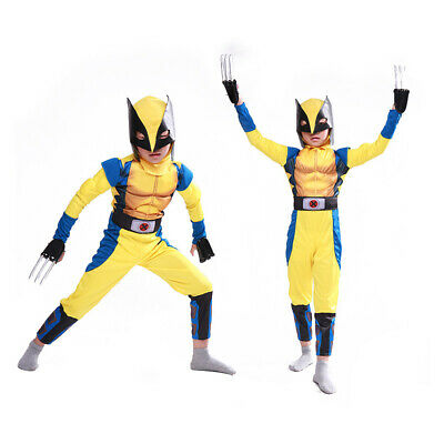 Wolverine X-Men Child Muscle Costume Cosplay Halloween 4pcs Suit Party Xmas USA