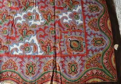 "Antique c1820 French Turkey Red Cotton Resist & Block Print Bandana Fabric~17""Sq"