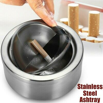 Stainless Steel Cigarette Lidded Ashtray Silver Windproof Cases With Lid Supply