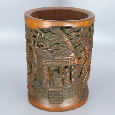 Chinese Exquisite Hand-carved the ancients landscape Carving bamboo Brush Pot