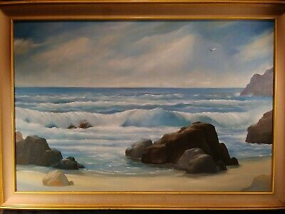 Original Seascape Oil On Canvas Painting By J. Stewart~Large Framed~Free Ship