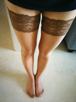 Women Hold Ups High Stockings Thigh Highs Lace Border Transparent Underwear