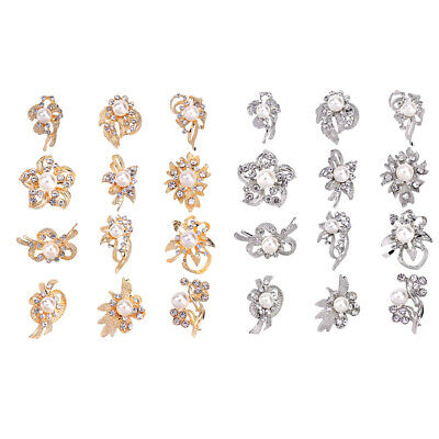 12pcs Crystal Pearl Flower Brooch Pin Set Wedding Party Broaches Kit Jewelry