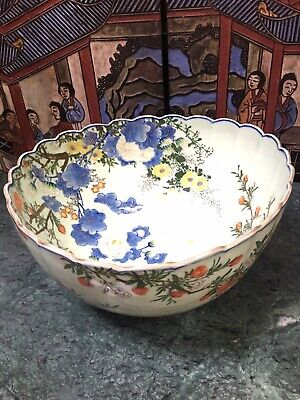 Excellent And Rare Antique Japanese Floral Porcelain Bowl