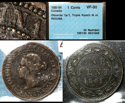 SUMMER SALE - CANADA Large Cent - 1881H Triple Punched N - CCCS VF30 (bfa787)